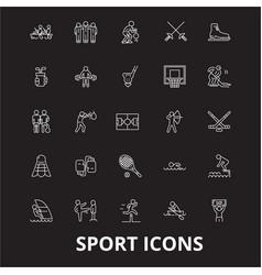 sport editable line icons set on black vector image
