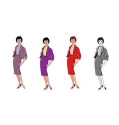 stylish fashion dressed girls 1950s 1960s style vector image