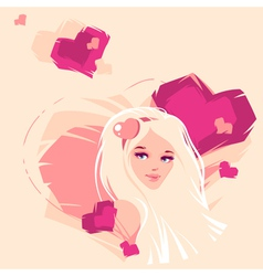 the girl and hearts vector image
