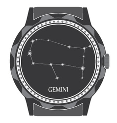 The watch dial with the zodiac sign Gemini vector image