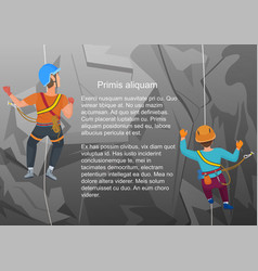 two alpinists climbing on vector image