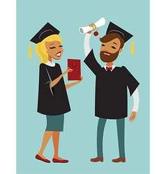 Two happy graduate students vector image
