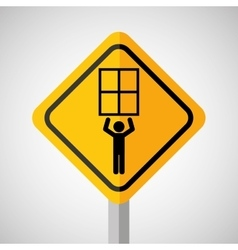 Under construction road sign man hold window vector