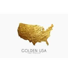 USA map Golden USA logo Creative USA logo design vector image