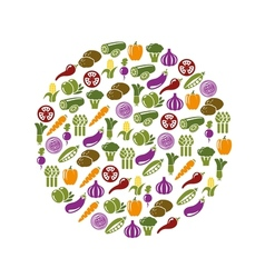 vegetable icons in circle vector image