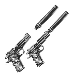 Vintage tactical pistol concept vector