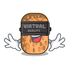 Virtual reality fried tempeh snack above cartoon vector