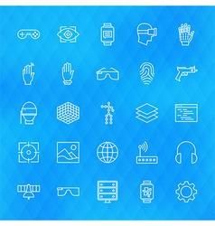 Virtual Reality Line Icons Set over Polygonal vector