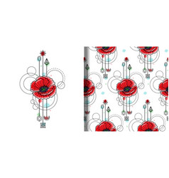 Watercolor poppy print and seamless pattern vector