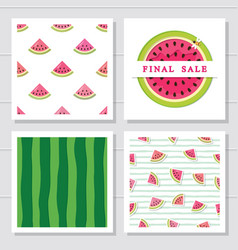 watermelon design elements set seamless patterns vector image
