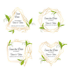 Wedding invitation floral template set vector
