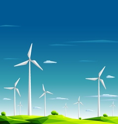 Wind farm in green fields on blue sky background vector image