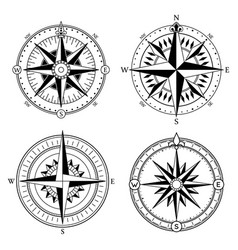 wind rose retro design collection vintage vector image