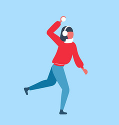 woman playing snowball fights girl throwing snow vector image