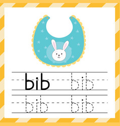 Worksheet for tracing words - bib learning vector