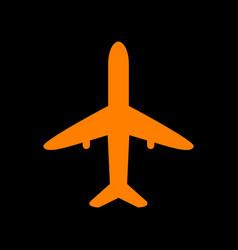 airplane sign orange icon on black vector image