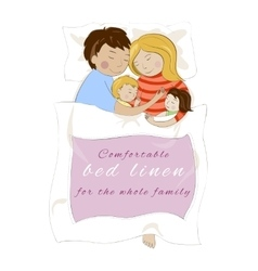 Family with children sleeping together Bed linen vector image vector image