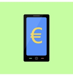 Flat style smart phone with euro vector