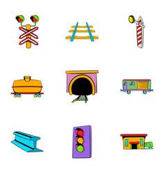 Railway station icons set cartoon style vector