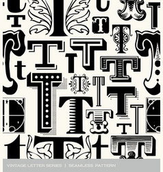 Seamless vintage pattern of the letter t vector