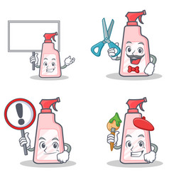 set of cleaner character with bring board sign vector image