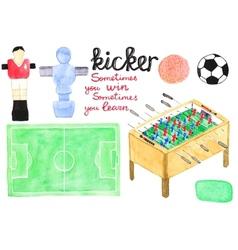 Set watercolor foosball or kicker design elements vector image vector image