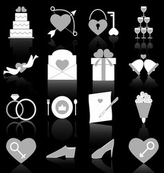 Wedding icons with reflect on black background vector image vector image