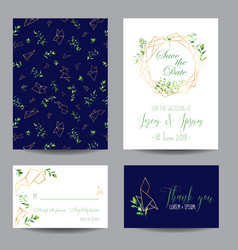 wedding invitation floral templates set vector image