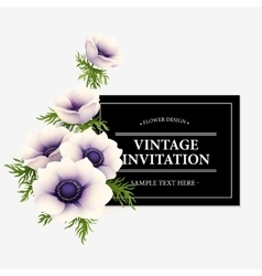 Greeting card with anemone flower vector image vector image