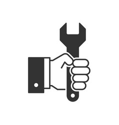 hand holding wrench black icon vector image vector image