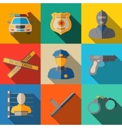 Set of flat police icons - gun car crime scene vector