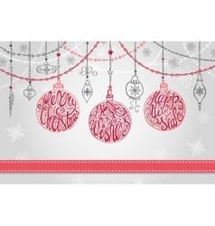 Christmas ballgarlandsnew year greeting card vector