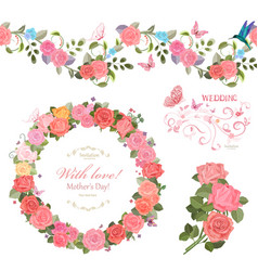 floral collection with roses seamless border and vector image vector image
