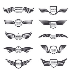 flying eagle wings logos set vintage vector image vector image