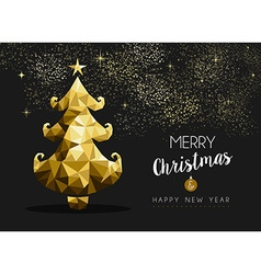 Merry christmas happy new year golden pine tree vector image vector image