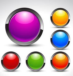 shiny web buttons set vector image