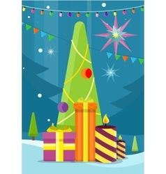 Christmas Tree with Presents and Candles vector image vector image