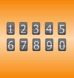 Digital flip numbers on orange background vector image vector image