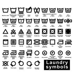 Icon set of laundry symbols vector image