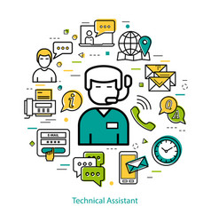 technical assistant - line round concept vector image