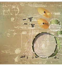 Abstract green sound grunge background with drum vector