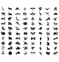 animals birds insects icons vector image