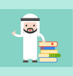 Arab businessman librarian or teacher stand with vector