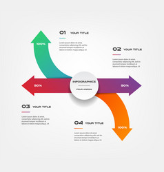 arrows infographics step by step element of chart vector image