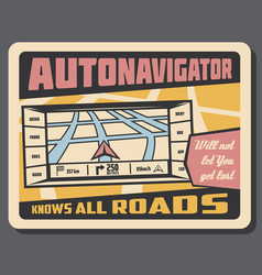 Autonavigator navigation retro poster vector