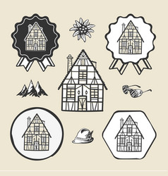 bavarian germany vintage house icon flat web sign vector image
