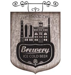 Beer signboard with retro brewery building vector