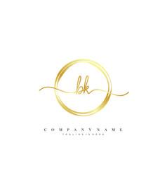 Bk initial handwriting minimalist geometric logo vector