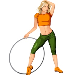 Blonde girl with a hoop vector