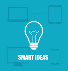 blue background smart ideas from the device vector image
